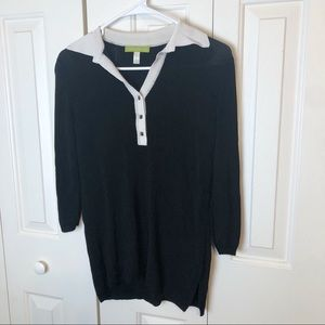 Sigrid Olsen Collared 1/4 Button Blouse Small